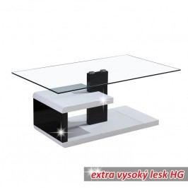 Konferenčný stolík, MDF+číre sklo, biela/čierna s extra vysokým leskom HG, LARS