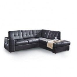 Rozkladacia rohová sedacia súprava s úložným priestorom, P prevedenie, koža YAK M6900 čierna, TREK VEĽKÝ ROH