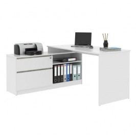 PC stôl, rohový s policou, biela/beton, BENTOS