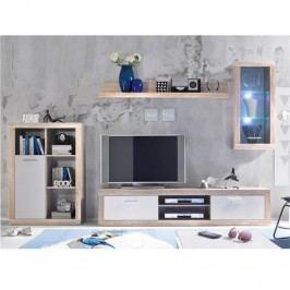 Obývacia stena, dub sonoma/biela, CARACAS