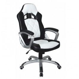 Kancelárske kreslo, ekokoža čierna/ekokoža biela, LOTAR