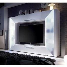 TV a media stena, DTD laminovaná, MDF s extra vysokým leskom, biela, ADGE