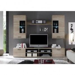 Obývacia stena, s osvetlením, dub sonoma/číre sklo, FRONTAL 2