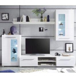 Obývacia stena,  biela extra vysoký lesk/číre sklo, HENRI