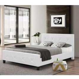 Manželská posteľ, s roštom, ekokoža biela, 160x200, CARISA