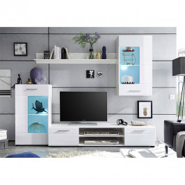 Obývacia stena, biela extra vysoký lesk high gloss/biela, HENRI NEW