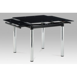 Jídelní stůl rozkládací 80+48x80 cm, černé sklo / chrom AT-1880 BK Autronic