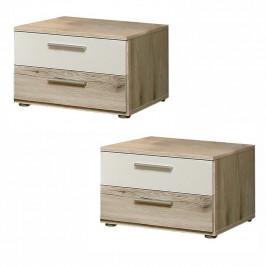 Nočný stolík VALERIA 2ks dub pieskový / biela Tempo Kondela