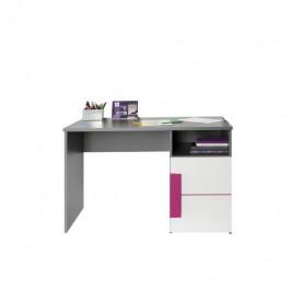 Písací stôl LOBETE 21 sivá / biela / fialová Tempo Kondela