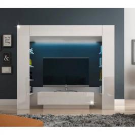 Luxusná obývacia stena MONTEREJ biela extra vysoký lesk s LED Tempo Kondela