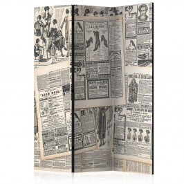 Paraván Vintage Newspapers Dekorhome 135x172 cm (3-dielny)