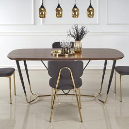 Jedálenský stôl MANCHESTER orech / čierna / zlatá Halmar