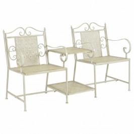 Záhradná oceľová dvojsedačková lavička Biela