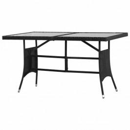 Záhradný stôl 140 x 80 cm čierny polyratan