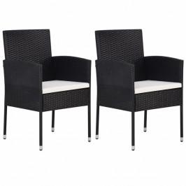 Záhradné stoličky 2 ks čierna / biela Dekorhome