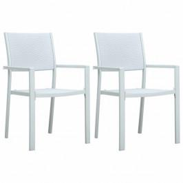 Záhradné stoličky 2 ks plast / oceľ Dekorhome Biela
