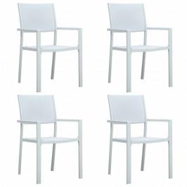 Záhradné stoličky 4 ks plast / oceľ Dekorhome Biela
