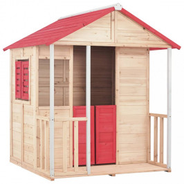Detský drevený domček prírodná / červená Dekorhome