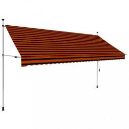 Zaťahovací markíza 350x120 cm oranžová / hnedá Dekorhome