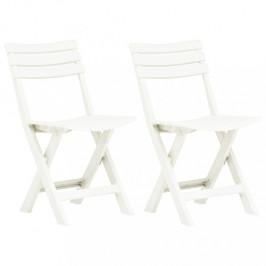 Skladacie záhradné stoličky 2ks plast Dekorhome Biela
