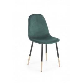 Jedálenská stolička K379 zamat / čierna / zlatá Halmar Tmavo zelená