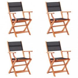 Skladacia záhradná stolička 4ks čierna Dekorhome