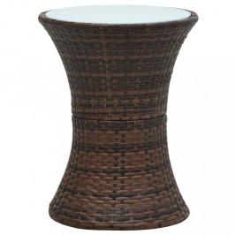 Záhradný odkladací stolík polyratan Dekorhome Hnedá