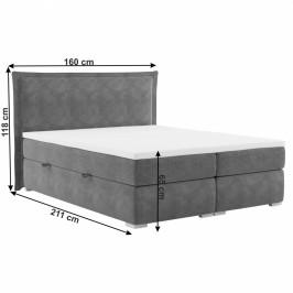 Boxspringová posteľ MEGAN sivá Tempo Kondela 160 x 200 cm