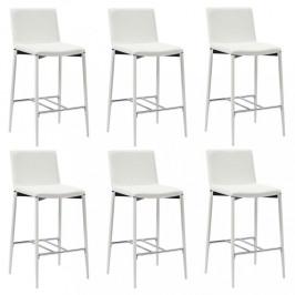 Barové stoličky 6ks umelá koža / kov Dekorhome Biela