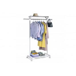 Stojan na šaty s regálom na topánky ABD-1218 kov / plast Autronic Biela