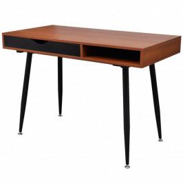 Písací stôl 110x55 cm hnedá / čierna Dekorhome
