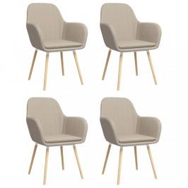 Jedálenská stolička 4 ks látka / bukové drevo Dekorhome Krémová
