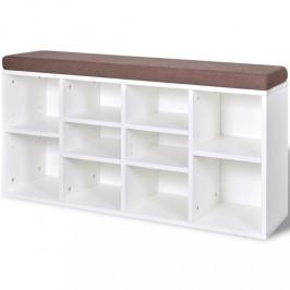 Botníková lavice látka / drevo Dekorhome Biela
