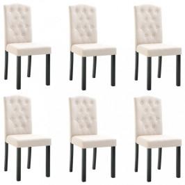 Jedálenská stolička 6 ks látka / kaučukovník Dekorhome Krémová
