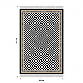 Koberec so strapcami MOTIVE čiernobiela / vzor Tempo Kondela 80x150 cm