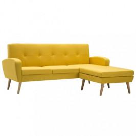 Rohová sedačka látka / drevo Dekorhome Žltá