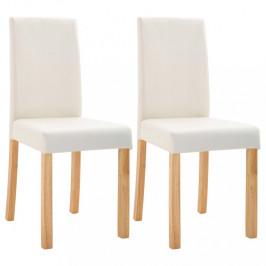 Jedálenská stolička 2 ks umelá koža / drevo Dekorhome Krémová