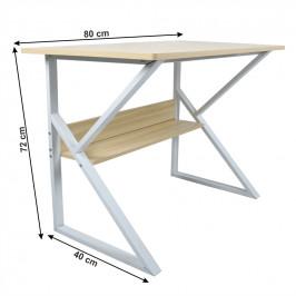 Pracovný stôl s policou TARCAL dub / biela Tempo Kondela 80x40 cm