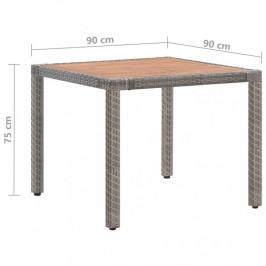 Záhradný stôl sivý polyratan / akácie Dekorhome 90x90x75 cm