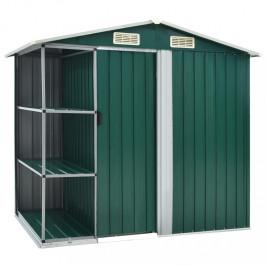 Záhradný domček 205 x 130 cm kovový Dekorhome Zelená