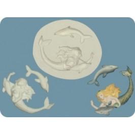 Silikónová forma - morská panna, delfín -