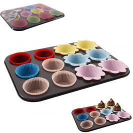 Forma teflonová nepřilnavá na muffiny s 12 silikonovými košíčky - ORION domácí potřeby
