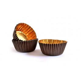 Košíčky na pralinky a guličky hnedé so zlatým vnútrom 35x20 - 50 ks -