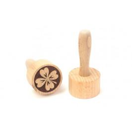 Dřevěné razítko na těsto, sušenky a cookies - čtyřlístek - ORION domácí potřeby