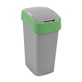 Strend Pro 2211243 Kôš Curver® FLIP BIN 10L, šedostříbrná/zelená, na odpadky