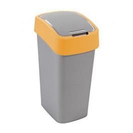 Strend Pro 2211244 Kôš Curver® FLIP BIN 10L, šedostříbrná/žltá, na odpadky