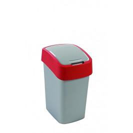 Strend Pro 2211245 Kôš Curver® FLIP BIN 10L, šedostříbrná/červená, na odpadky