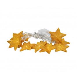 Solight 1V212 LED reťaz vianočné hviezdy zlaté, 10LED reťaz, 1m, zlatá farba, 2x AA, IP20