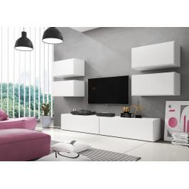 Artcam Obývacia stena ROCO 2 roco: korpus biely mat / okraj biely mat / dvierka biely mat