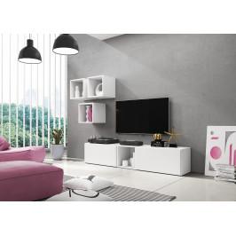 Artcam Obývacia stena ROCO 8 roco: korpus biely mat / okraj biely mat / dvierka biely mat